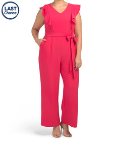 TAHARI BY ASL Plus Ruffle Sleeve Jumpsuit