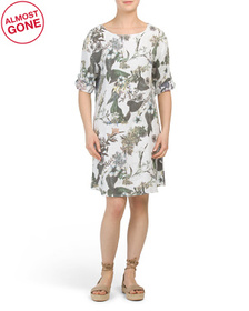 Made In Italy Floral Print Linen Dress