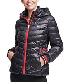 Striped-Trim Puffer Jacket