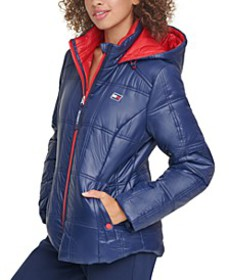 Box-Quilted Hooded Puffer Coat