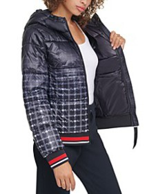 Hooded Ombré-Plaid Puffer Jacket