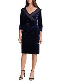 Tahari by ASL Velvet Side Ruched Cocktail Dress wi