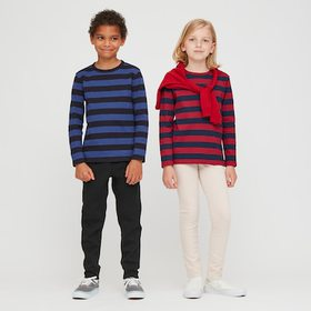 Kids Striped Crew Neck Long-Sleeve T-Shirt, Red, M