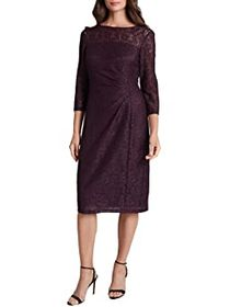 Tahari by ASL Petite Side Ruched Stretch Beaded La