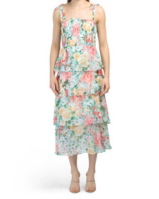 Tie Shoulder Smocked Tiered Floral Dress