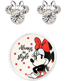 Minnie Mouse Clear Crystal Stud in Sterling Silver