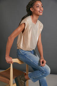 Anthropologie Kerry Cropped Metallic Muscle Tee