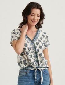 Lucky Brand V- Neck Tie Front Top