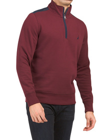 Pieced Quarter Zip Fleece Top