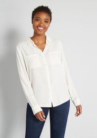ModCloth ModCloth Pristine Dreams Button-Up Shirt