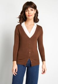 ModCloth Charter School Cardigan Brown