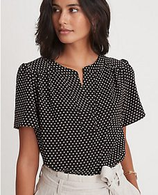Petite Dotted Flutter Sleeve Popover