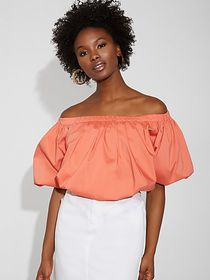 Poplin Off-The-Shoulder Top - Gabrielle Union Coll