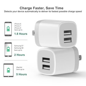 USB Wall Charger,2-Pack 3.1A Dual Port USB Cube Po