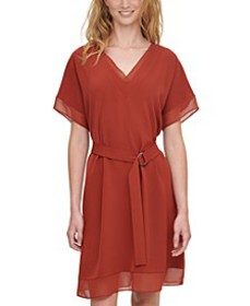 V-Neck Belted Shift Dress
