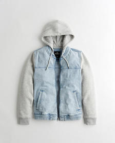 Hollister Hooded Denim Bomber Jacket, LIGHT WASH