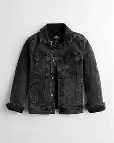 Hollister Embroidered Stretch Denim Trucker Jacket