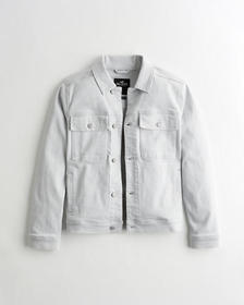 Hollister Utility Denim Trucker Jacket, LIGHT GREY