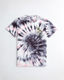 Hollister Tie-Dye Print Graphic Tee, BLACK AND PIN