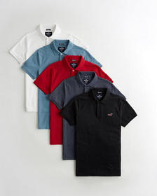Hollister Stretch Icon Polo 5-Pack, WHITE - BLUE -
