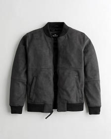 Hollister Faux-Suede Bomber Jacket, DARK GREY