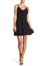 bebe Ruffled V-Neck Dress