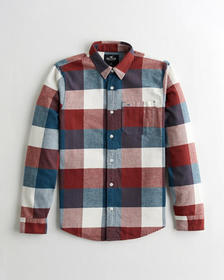 Hollister Flannel Shirt, NAVY AND RUST CHECK