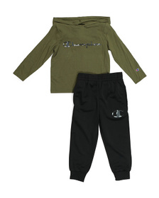 Toddler And Little Boy Camo Script Hoodie And Jogg