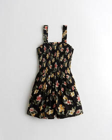 Hollister Smocked Romper, BLACK FLORAL