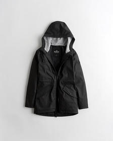 Hollister Longline Rain Jacket, BLACK