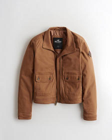Hollister Twill Utility Jacket, BROWN