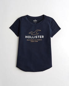 Hollister Print Logo Graphic Tee, NAVY