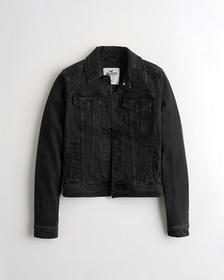 Hollister Stretch Denim Jacket, BLACK