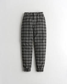 Hollister Ultra High-Rise Joggers, BLACK PLAID