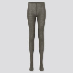 Women Heattech Knitted Tights (Ribbed), Dark Gray,
