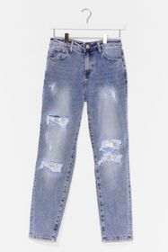 Nasty Gal Blue Shred in the Game Distressed Relaxe