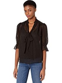 7 For All Mankind Tie Neck Puff Flutter Sleeve Blo