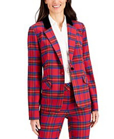Plaid One-Button Blazer, Created for Macy's
