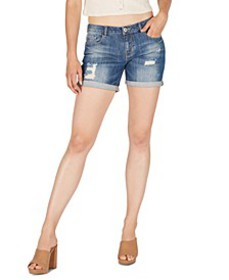 Mid-Rise Distressed Cuffed Denim Shorts