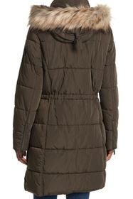 DKNY Button Down Puffer with Faux Fur Hood