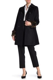 Tahari Aubrey Faux Fur Cuffed Wool Blend Coat