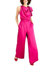 INC Draped Neck Satin Jumpsuit, Created for Macy's