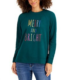 Petite Merry And Bright Graphic-Print Sweatshirt,