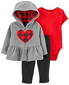 Baby Girls 3-Piece Fleece Cardigan Set