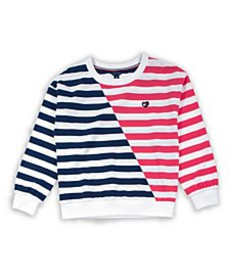 Big Girl Stripe Crewneck with Heart Flag Patch Swe