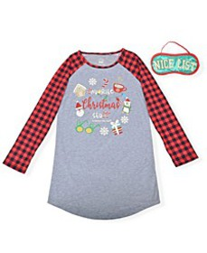 Big Girl's 2 Piece Christmas Printed Sleep Shirt w