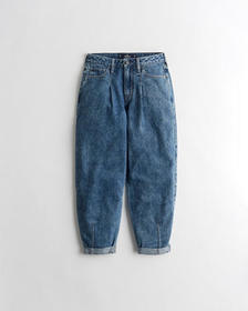 Hollister High-Rise Balloon Jeans, DARK WASH EFFEC