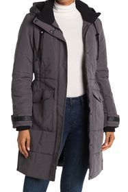 Lucky Brand Missy Long Hooded Quilted Jacket
