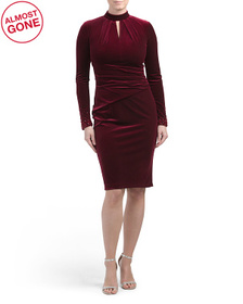 Stretch Velvet Keyhole Neck Dress