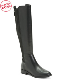 Leather Stretch Back Knee High Boot